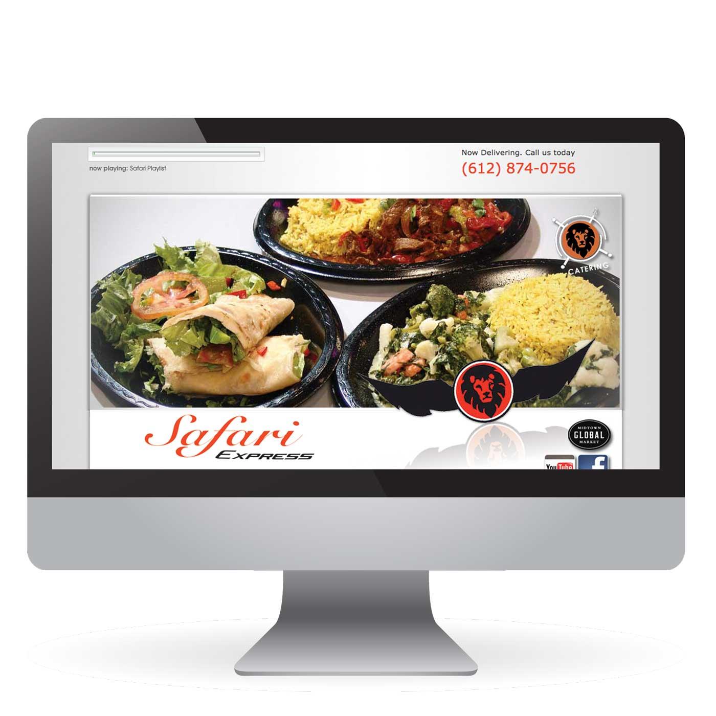 Restaurant Website Design for Safari Express Minneapolis Minnesota