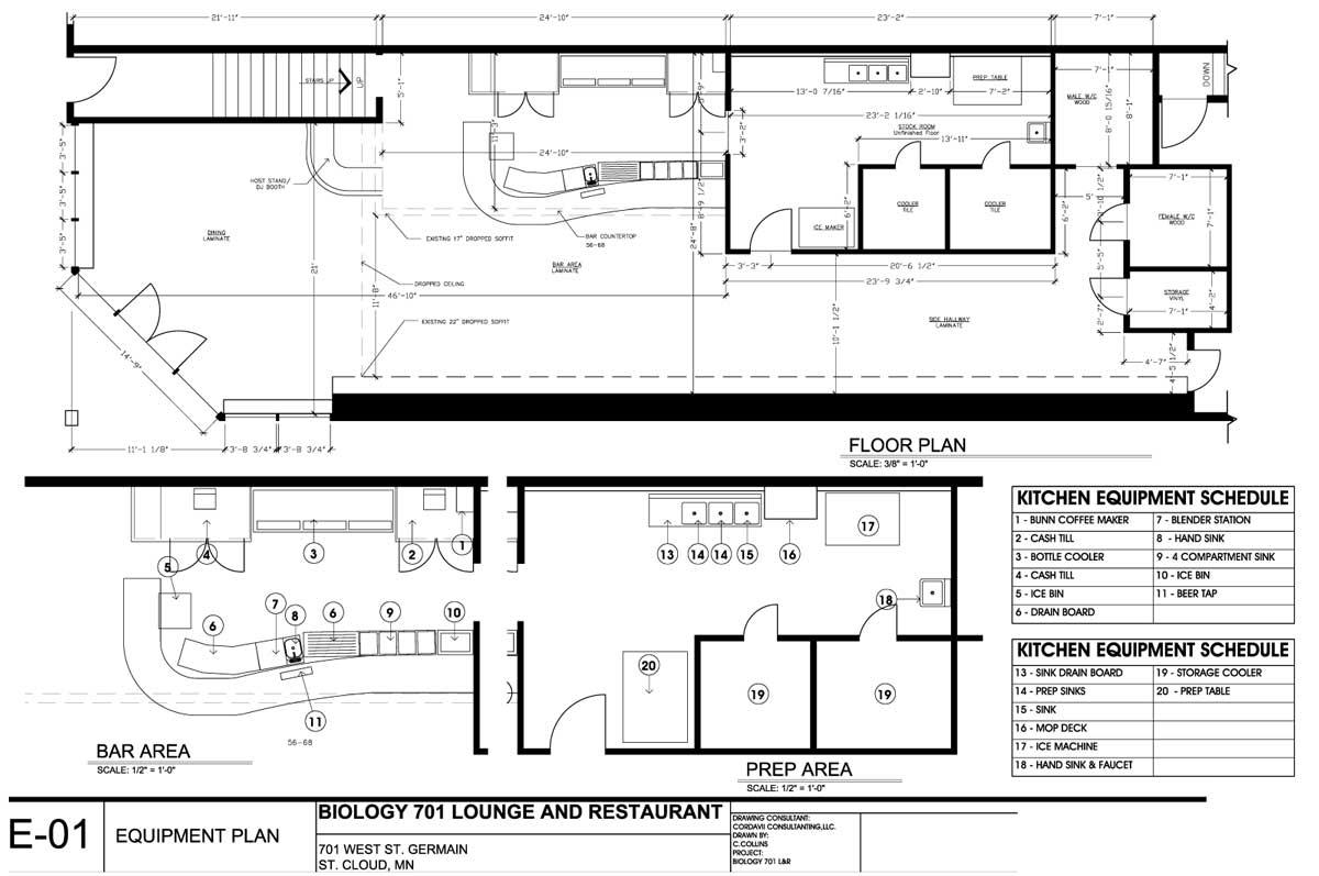 Biology Bar Lounge Restaurant Equipment Plan