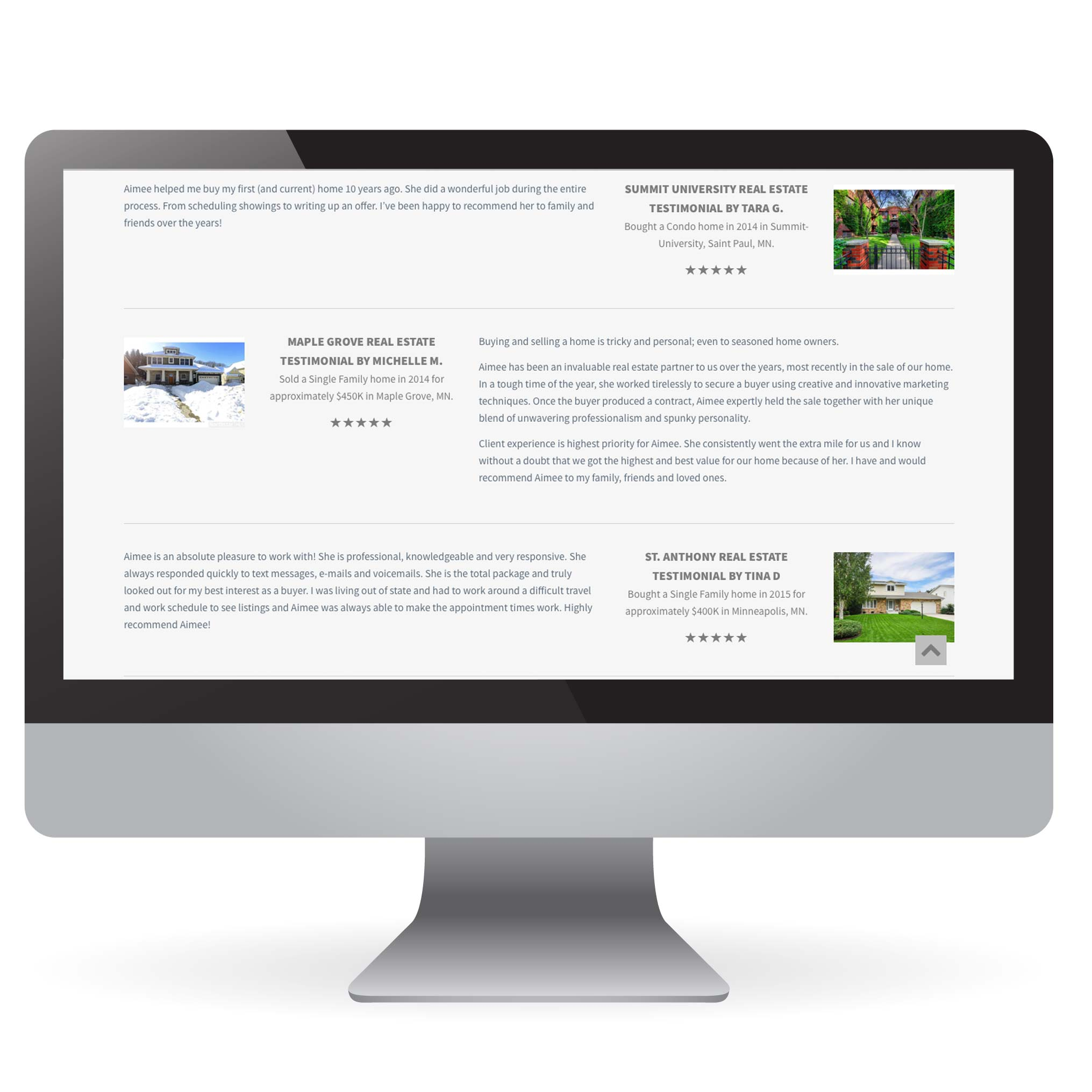 Real Estate testimonials on IDX Website Design