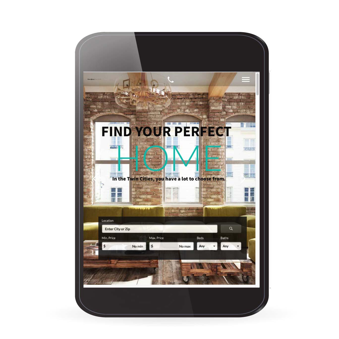 Real Estate IDX Website Design search on tablet