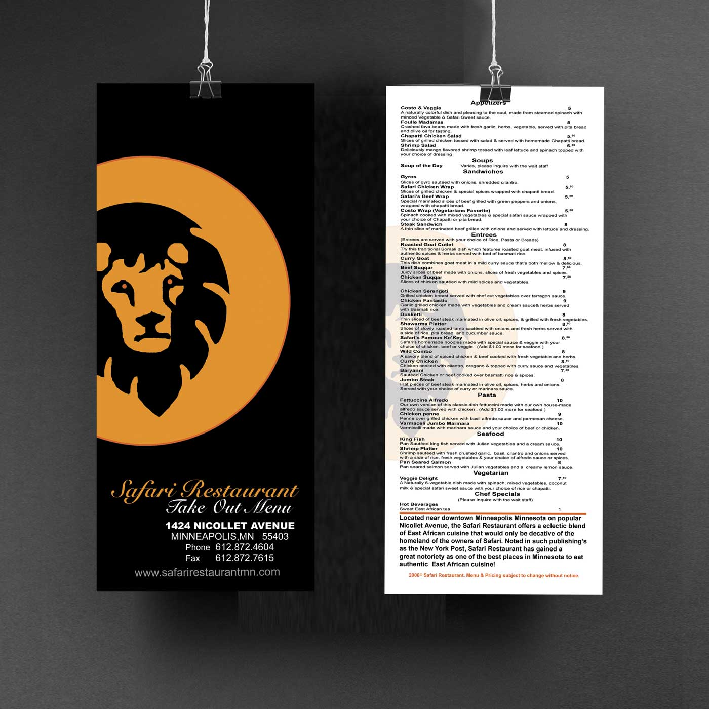 Menu Design Safari Restaurant Brand Design