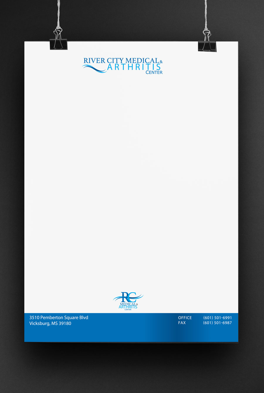 Medical Brand Design Letter Head for River City Medical by Cordavii Brand Consulting
