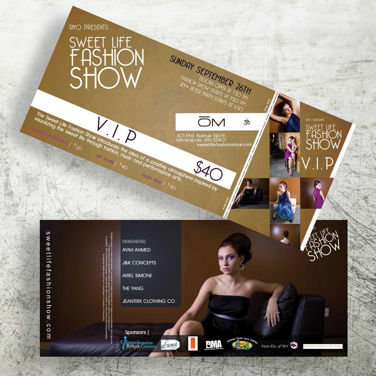 Sweet Life Fashion Show VIP Ticket Design