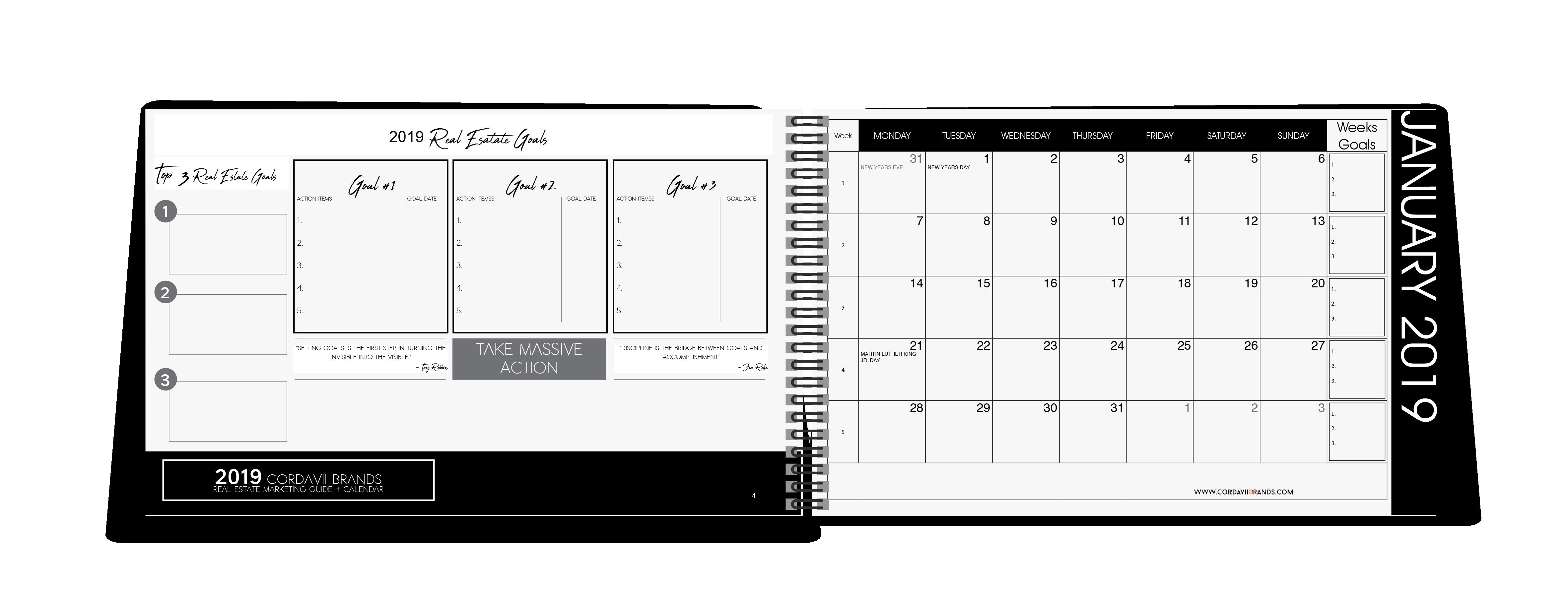 Cordavii 2019 Real Estate Marketing Calendar inside sample coevers